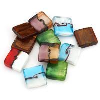 Handgewickelte Perlen, Lampwork, Quadrat, gemischte Farben, 20x20x5-8mm, Bohrung:ca. 2mm, ca. 30PCs/Menge, verkauft von Menge