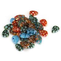 Inneren Blume-Lampwork-Beads, Lampwork, innen Blume, gemischte Farben, 10x13.50x4mm, Bohrung:ca. 1mm, ca. 50PCs/Menge, verkauft von Menge
