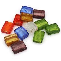 Silberfolie Lampwork Perlen, Quadrat, gemischte Farben, 15x19-20x6-8mm, Bohrung:ca. 2.5mm, ca. 50PCs/Menge, verkauft von Menge