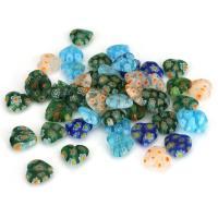 Inneren Blume-Lampwork-Beads, Lampwork, Herz, innen Blume, gemischte Farben, 10x10x3.50mm, Bohrung:ca. 0.5mm, ca. 50PCs/Menge, verkauft von Menge