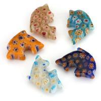 Inneren Blume-Lampwork-Beads, Lampwork, innen Blume, gemischte Farben, 14x25x7.50mm, Bohrung:ca. 1mm, ca. 50PCs/Menge, verkauft von Menge