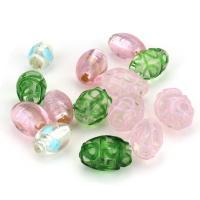 Handgewickelte Perlen, Lampwork, gemischte Farben, 11-13x16-19x11-13mm, Bohrung:ca. 2mm, ca. 50PCs/Menge, verkauft von Menge