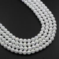 Natürliche Crackle Achat Perlen, Flachen Achat, rund, AB Farben plattiert, verschiedene Größen vorhanden & facettierte, weiß, verkauft von Strang