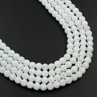 Natürliche Crackle Achat Perlen, Flachen Achat, rund, AB Farben plattiert, verschiedene Größen vorhanden & satiniert, weiß, verkauft von Strang