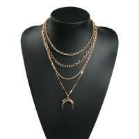 Zinklegierung Halskette, plattiert, mehrschichtig & für Frau, goldfarben, verkauft per ca. 15.7 ZollInch Strang