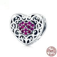 925 Sterling Silber Perlen, 925er Sterling Silber, Herz, versilbert, mit Strass, 10x11mm, Bohrung:ca. 4.5mm, verkauft von PC