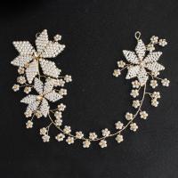 Braut Haar Blumen, Messing, mit Kunststoff Perlen, goldfarben plattiert, für Braut, frei von Nickel, Blei & Kadmium, 85*35mm, verkauft von PC