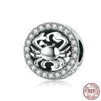 925 Sterlingsilber European Perlen, 925er Sterling Silber, Krebs, versilbert, Micro pave Zirkonia, 11x11mm, Bohrung:ca. 4.5mm, verkauft von PC