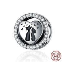 Befestiger Zirkonia Sterlingsilber Perlen, 925er Sterling Silber, plattiert, Micro pave Zirkonia, 12x12x8mm, Bohrung:ca. 4.5mm, verkauft von PC