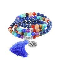 Zinklegierung Pullover Halskette, mit Baumwollfaden & Edelstein, antik silberfarben plattiert, unisex & hohl, frei von Nickel, Blei & Kadmium, 6mm, verkauft per ca. 27 ZollInch Strang