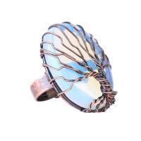 Messing Manschette Fingerring, mit Edelstein, antike Kupferfarbe plattiert, verschiedenen Materialien für die Wahl & unisex & einstellbar, frei von Nickel, Blei & Kadmium, 32x33x12mm, Größe:6-8, verkauft von PC