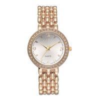 Damen Armbanduhr, Zinklegierung, mit Glas, plattiert, für Frau & mit Strass, keine, frei von Nickel, Blei & Kadmium, 33x10mm, Länge:ca. 7.68 ZollInch, verkauft von PC