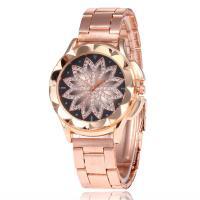 Damen Armbanduhr, Zinklegierung, mit Glas, Rósegold-Farbe plattiert, für Frau & mit Strass, frei von Nickel, Blei & Kadmium, 40mm, Länge:ca. 8.67 ZollInch, verkauft von PC