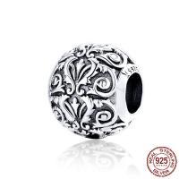 925 Sterlingsilber European Perlen, 925er Sterling Silber, Zylinder, versilbert, 11x10mm, Bohrung:ca. 4.5mm, verkauft von PC