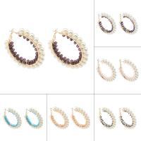 Eisen Kreolen, mit Glasperlen & ABS-Kunststoff-Perlen, goldfarben plattiert, für Frau, keine, frei von Nickel, Blei & Kadmium, 60x6mm, verkauft von Paar