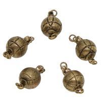Messing Schnappschließe, antike Bronzefarbe plattiert, frei von Nickel, Blei & Kadmium, 19x10mm, Bohrung:ca. 2mm, ca. 50PCs/Tasche, verkauft von Tasche