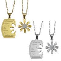 Edelstahl Ehepaar Halskette, Oval-Kette & mit Strass, keine, 20x30mm,1.5mm,18x22mm,1.5mm, Länge:ca. 19 ZollInch, ca. 17 ZollInch, verkauft von Paar