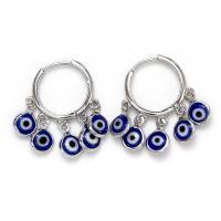 Zinklegierung Tropfen Ohrring, Platinfarbe platiniert, böser Blick- Muster & für Frau, blau, frei von Nickel, Blei & Kadmium, 28*6mm, verkauft von Paar