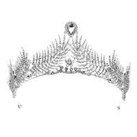 Krone, Zinklegierung, mit Kristall, silberfarben plattiert, für Braut & mit Strass, frei von Nickel, Blei & Kadmium, 320mm,95mm, verkauft von PC