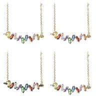 Messing Halskette, plattiert, Oval-Kette & für Frau & mit kubischem Zirkonia, keine, frei von Nickel, Blei & Kadmium, 38x10.5x4mm,1.5mm, verkauft per ca. 19 ZollInch Strang