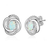 925er Sterling Silber Ohrstecker, mit Opal, plattiert, für Frau & mit Strass, Silberfarbe, 13x11mm, verkauft von Paar