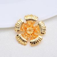 Messing Perlenkappe, Blume, vergoldet, frei von Nickel, Blei & Kadmium, 19*19mm, 10PCs/Menge, verkauft von Menge