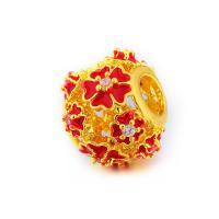 Strass Messing Perlen, Blume, goldfarben plattiert, Emaille & mit Strass, keine, frei von Nickel, Blei & Kadmium, 12x12x10mm, Bohrung:ca. 4.5mm, 5PCs/Menge, verkauft von Menge