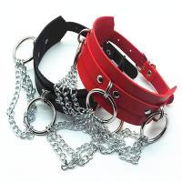 Kragen Halskette, Zinklegierung, mit PU Leder, silberfarben plattiert, Punk-Stil & für Frau, keine, frei von Nickel, Blei & Kadmium, 45mm, verkauft per ca. 16.14 ZollInch Strang