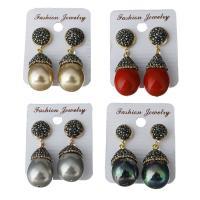 Ton Tropfen Ohrring, mit Muschelkern & Gummi Earnut, für Frau, keine, frei von Nickel, Blei & Kadmium, 15x28mm,41mm, verkauft von Paar
