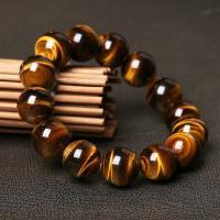 Natürliche Tiger Eye Armband, Tigerauge, rund, unisex & verschiedene Größen vorhanden, gelb, verkauft per ca. 7 ZollInch Strang
