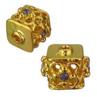Strass Messing Perlen, mit Strass, Goldfarbe, frei von Nickel, Blei & Kadmium, 14x12x14mm, Bohrung:ca. 2mm, 50PCs/Menge, verkauft von Menge