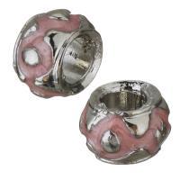 Messing European Perlen, silberfarben plattiert, Emaille, Rosa, frei von Nickel, Blei & Kadmium, 10x7mm, Bohrung:ca. 5mm, 50PCs/Menge, verkauft von Menge