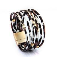 PU Schnur Armbänder, PU Leder, mit Zinklegierung, für Frau, keine, 23x190mm, verkauft von Strang
