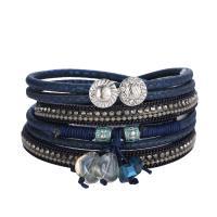 PU Schnur Armbänder, PU Leder, mit Glasperlen & Strass & Zinklegierung, für Frau, keine, 25x390mm, verkauft von Strang