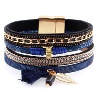 PU Schnur Armbänder, PU Leder, mit Baumwollfaden & Strass & Zinklegierung, für Frau, keine, 33x190mm, verkauft von Strang