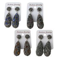 Ton Tropfen Ohrring, mit Gummi Earnut & Edelstein, für Frau, keine, frei von Nickel, Blei & Kadmium, 16.5x39.5mm,53.5mm, verkauft von Paar