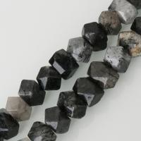 Schwarzer Rutilquarz Perle, gemischte Farben, frei von Nickel, Blei & Kadmium, 12x16mm, Bohrung:ca. 2mm, ca. 30PCs/Strang, verkauft per ca. 16 ZollInch Strang