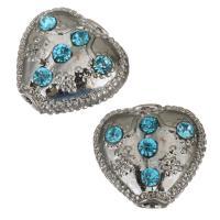 Strass Messing Perlen, mit Strass, Silberfarbe, frei von Nickel, Blei & Kadmium, 16x15x8mm, Bohrung:ca. 3mm, ca. 10PCs/Menge, verkauft von Menge