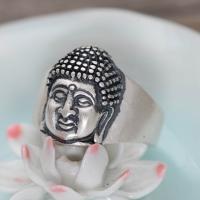 Messing Fingerring, Buddha, versilbert, unisex & verschiedene Größen vorhanden, frei von Nickel, Blei & Kadmium, 17*12mm, verkauft von PC