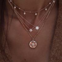 Zinklegierung Halskette, mit ABS-Kunststoff-Perlen, goldfarben plattiert, Oval-Kette & für Frau & 4-Strang & mit Strass, frei von Nickel, Blei & Kadmium, 18mm,5mm, verkauft per ca. 20.47 ZollInch Strang