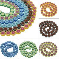 Polymer Ton Perlen , flache Runde, verschiedene Muster für Wahl, 10x4mm, Bohrung:ca. 1mm, 10SträngeStrang/Tasche, ca. 36PCs/Strang, verkauft von Tasche