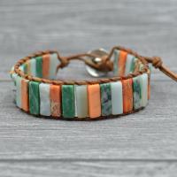 PU Leder Armband, mit Edelstein & Zinklegierung, plattiert, unisex & verschiedene Stile für Wahl, verkauft per ca. 6.6 ZollInch Strang