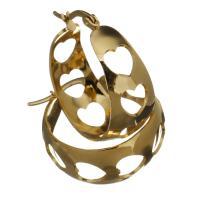 Edelstahl-Hebel zurück-Ohrring, Edelstahl, goldfarben plattiert, für Frau & hohl, 12x29x27mm, verkauft von Paar