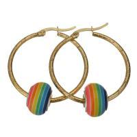 Edelstahl-Hebel zurück-Ohrring, Edelstahl, mit Acryl, goldfarben plattiert, für Frau, 34x36mm,9x14mm, verkauft von Paar