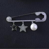 Messing Brosche, mit kubischer Zirkonia & Kunststoff Perlen, Platinfarbe platiniert, Micro pave Zirkonia & für Frau, keine, frei von Nickel, Blei & Kadmium, 58*15mm, verkauft von PC