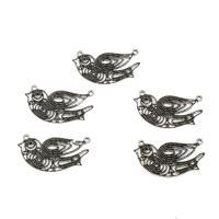 Tier Zinklegierung Schmuckverbinder, Vogel, antik silberfarben plattiert, 1/1-Schleife, 20x35mm, Bohrung:ca. 1-1.5mm, verkauft von PC