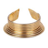 Zinklegierung Collier, mit PU Leder & Kunststoff, goldfarben plattiert, einstellbar & für Frau, frei von Nickel, Blei & Kadmium, 460mm, verkauft von Strang