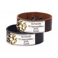 Kunstleder Armband, mit Zinklegierung, plattiert, unisex, keine, 220x25mm, verkauft von PC