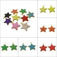 Synthetische Türkis Anhänger, Stern, goldfarben plattiert, keine, 39x44x7mm, Bohrung:ca. 4*6mm, 5/Tasche, verkauft von Tasche