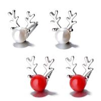 Sterling Silber Schmuck Ohrring, 925er Sterling Silber, mit Muschelkern, Geweihe, platiniert, für Frau, keine, 8x6mm,4mm, verkauft von Paar